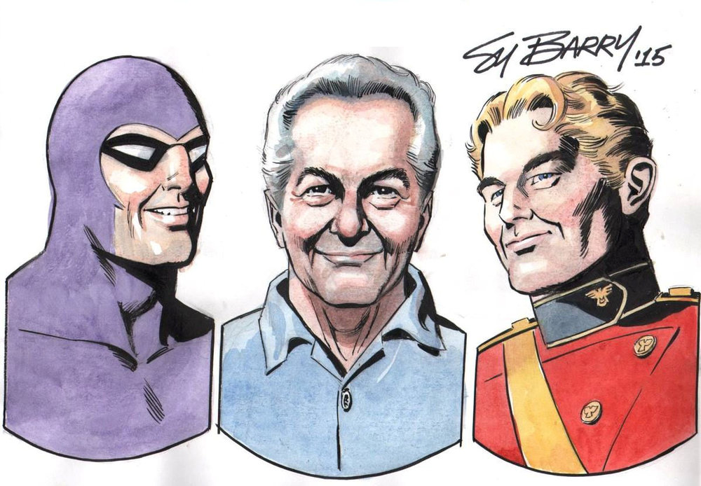 Self Portrait With The Phantom and Flash Gordon, drawn by Sy Barry.