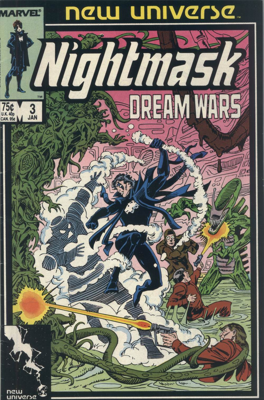 Nightmask (1986) #3, written by Cary Bates. Cover by Al Milgrom.