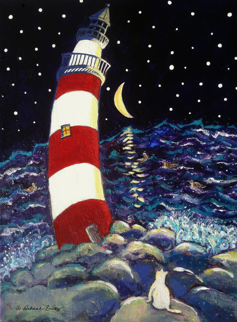 Tipsy Lighthouse with White Cat