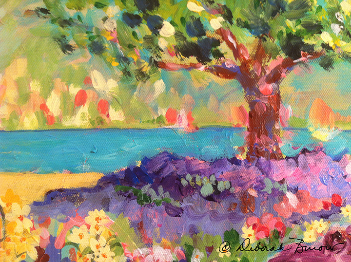 Tree and Flowers by the Water