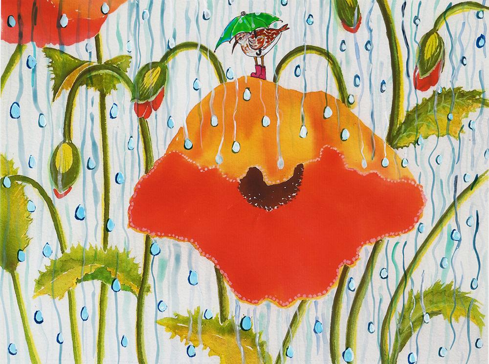 Poppy with Piper in the Rain