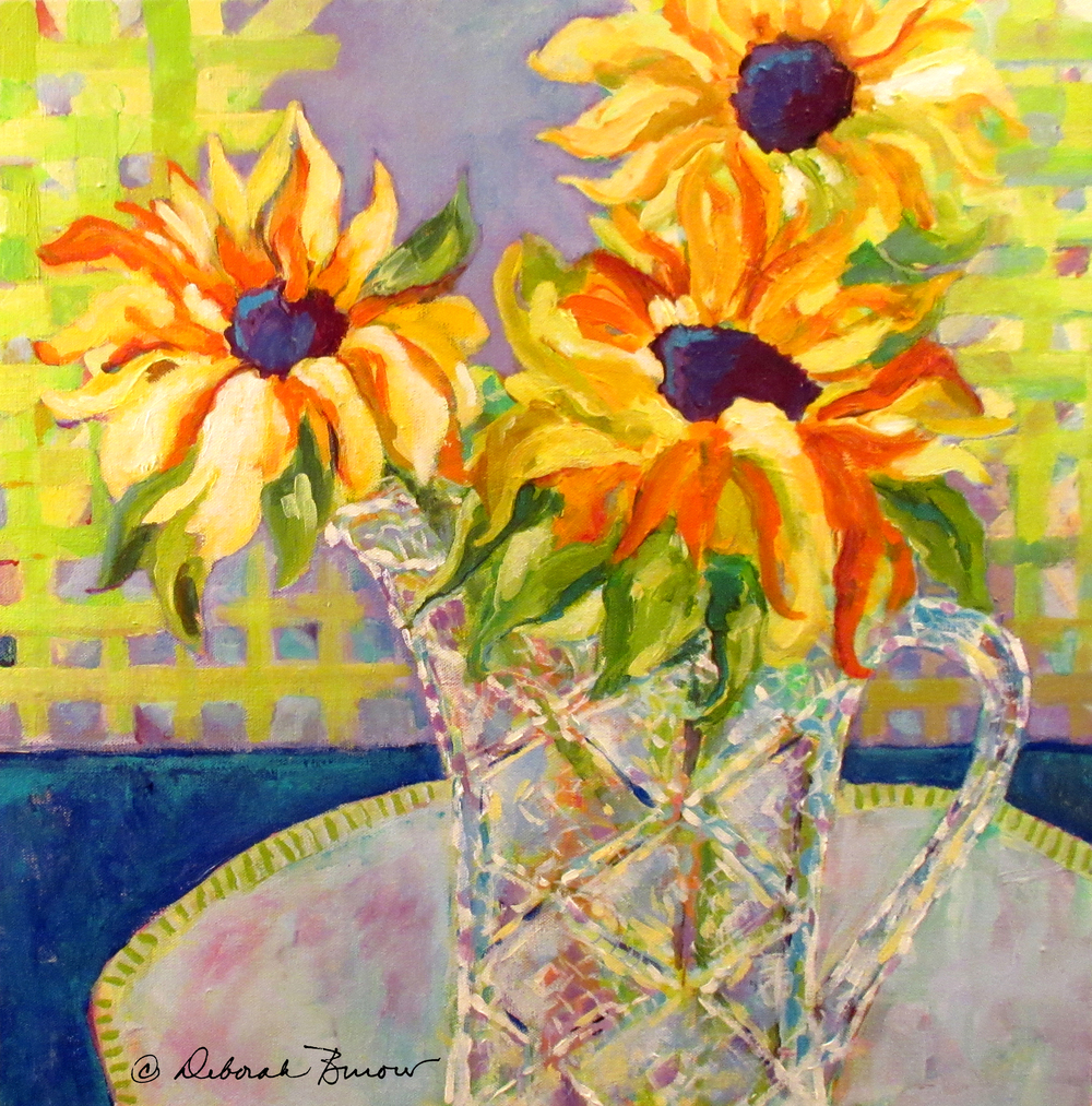 Sunflowers in Crystal Vase