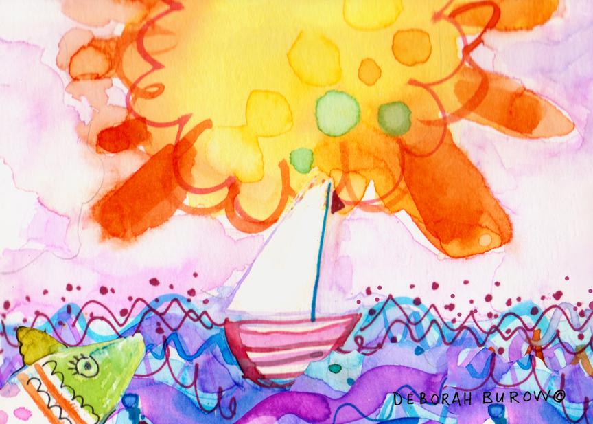 Big Sun and Sailboat