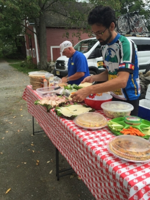 Leaders Pete and Cedric served quiches, potato salad, spicy salsa, veggies,melon and much more... yum!