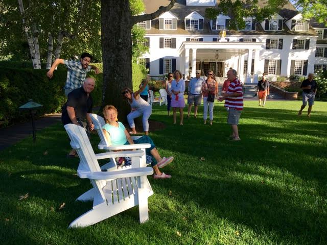 I was looking for a serene pic of me alone on the lawn outside the inn, and you can see what happened. Great group!