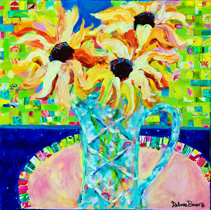 Sunflowers with Trellis Collage