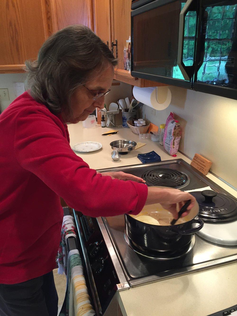 Mary making breakfast