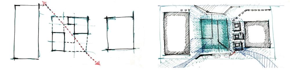Site Response:  Establish diagonal circulation across site & soften site borders