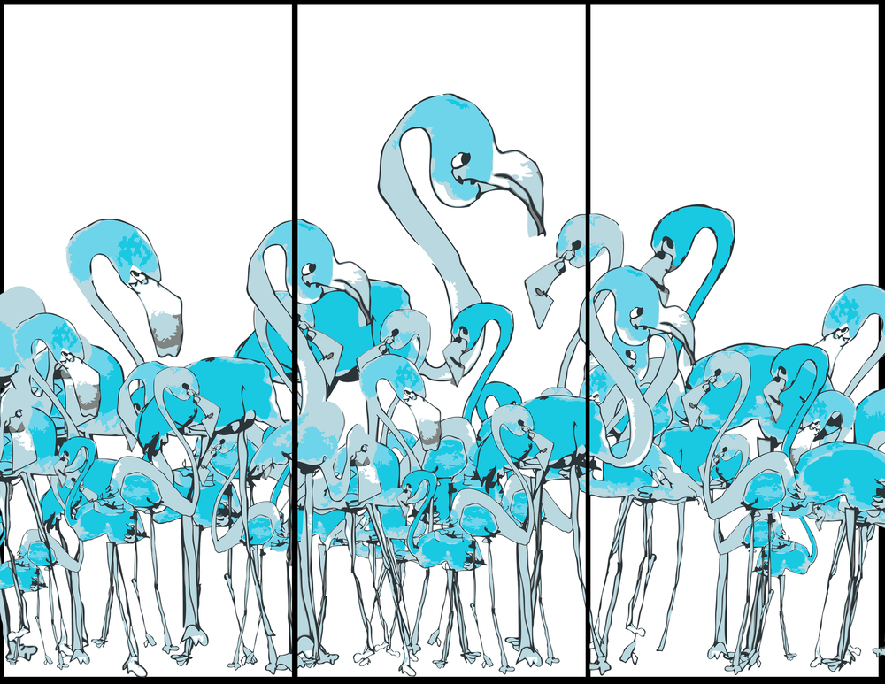 """Flamingos -  Blind Contour Vectored for Jack Parow's Blue Album"