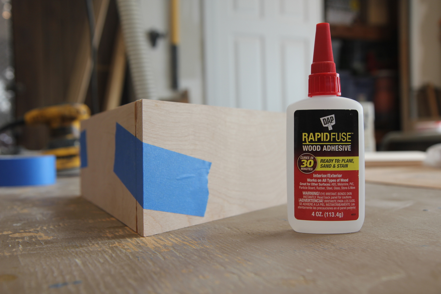 DAP's new Rapid Fuse wood adhesive. First time using it on this project and worked great.
