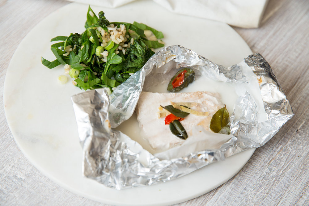 COCONUT BAKED FISH WITH CRUNCHY KALE SALAD
