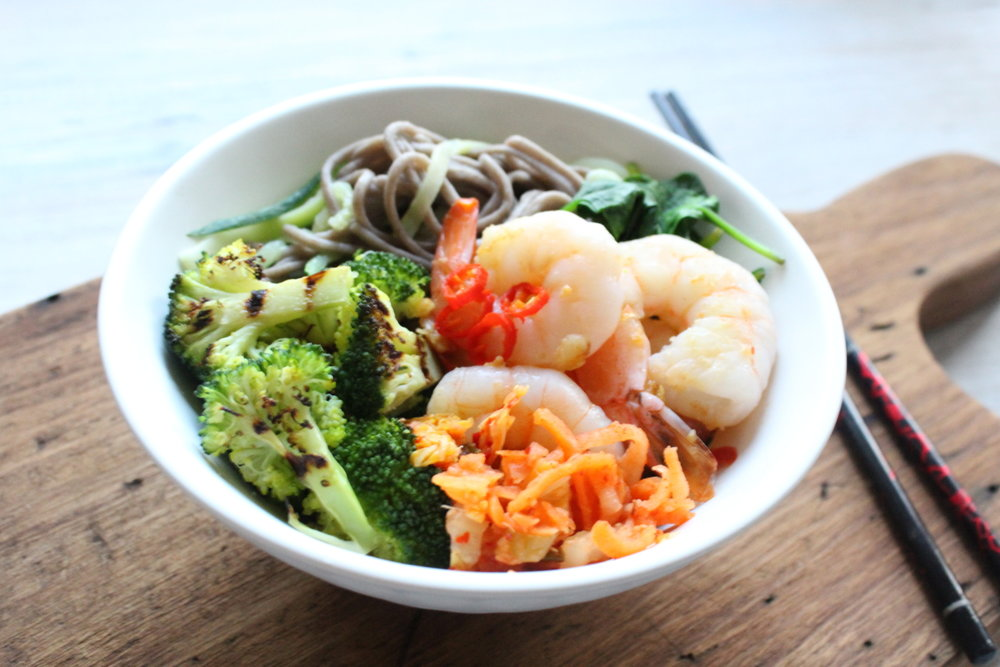 GARLIC PRAWNS WITH CHARRED BROCCOLI & SOBA