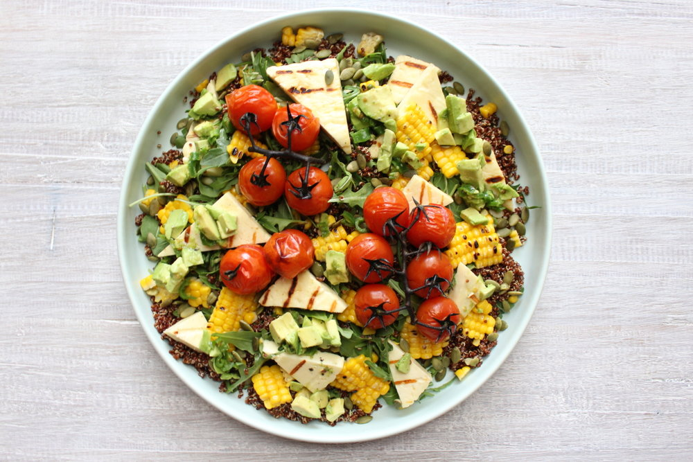 HALOUMI SALAD WITH QUINOA AND AVO SALSA