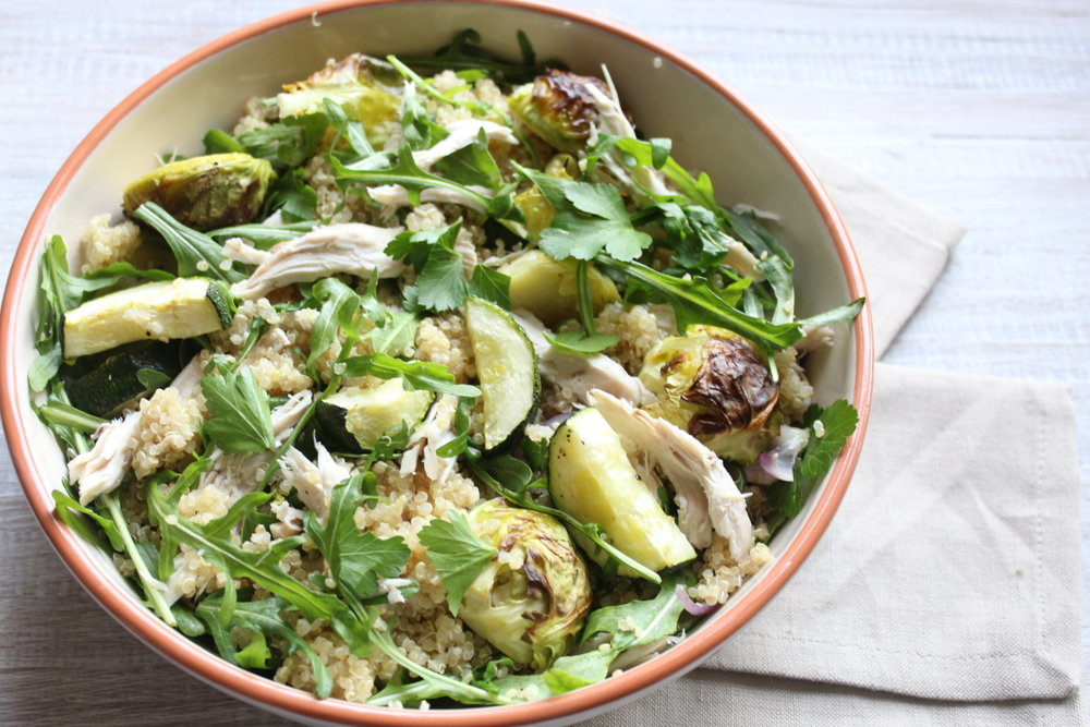 CHICKEN, QUINOA AND ROAST BRUSSELS SPROUTS SALAD