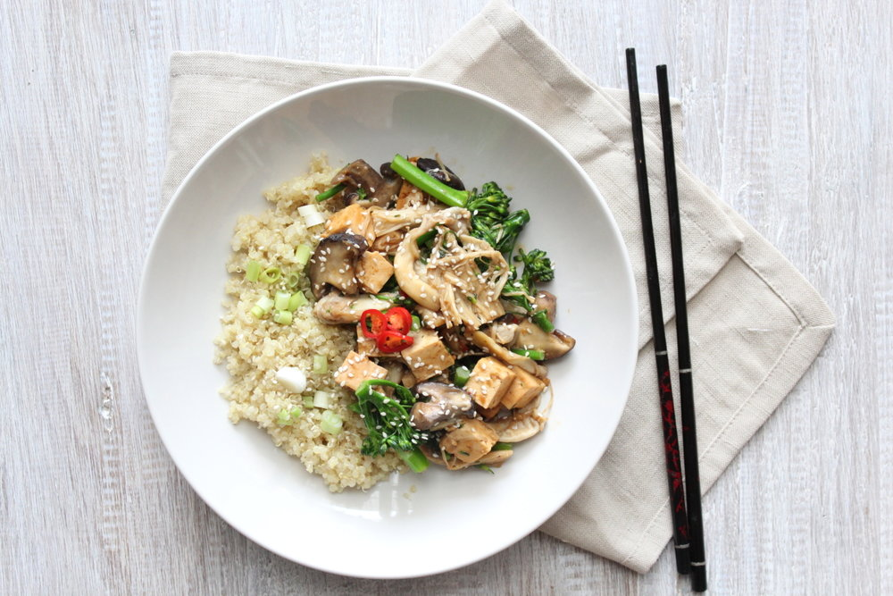 MISO TOFU & MUSHROOMS WITH QUINOA