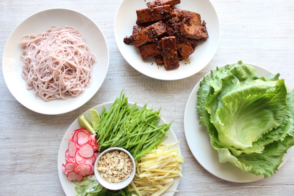 STICKY TOFU LETTUCE WRAPS WITH PICKLED RADISH