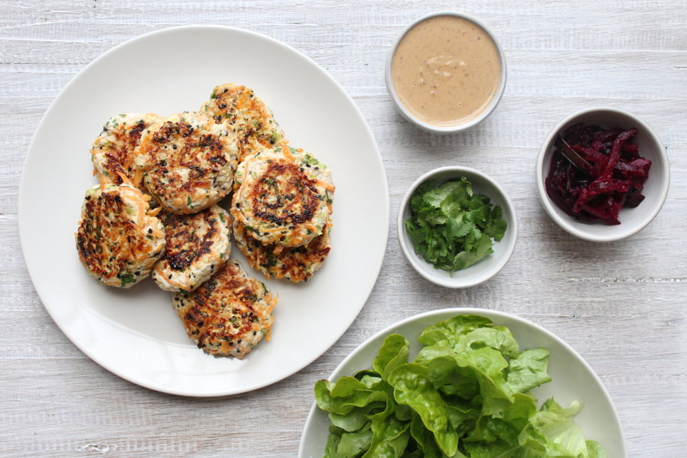 TURKEY, CARROT & SESAME BURGERS WITH MISO SAUC