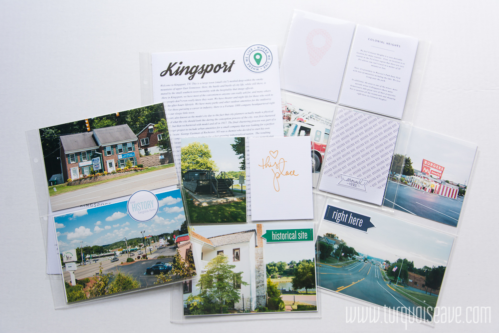 6x8 Project Life Layout by Mandy, Turquoise Avenue. Includes links to all the products used! Document the town where you live, great idea!