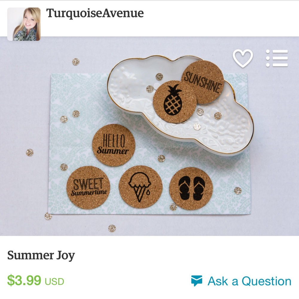 Adorable, flat circle cork with adhesive backing and black ink for cards, pocket pages, scrapbook pages, envelopes, and so much more! Great for any arts and crafts project.  Turquoise Avenue Shoppe on Etsy, item for sale.