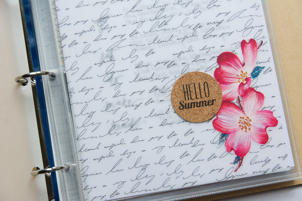 #LittleSummerJOY - a FREE class/challenge for memory keepers. Here is a 6x8 Project Life spread by contributor Mandy Elliott of Turquoise Avenue using summer themed cork stickers from the Turquoise Avenue Shoppe on Etsy!