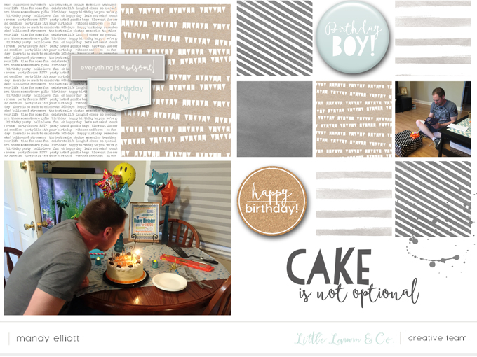 "6x8 Digital Project Life layout by Mandy Elliott, Turquoise Avenue using the ""Its My Party"" digital collection and templates from Little Lamm Co."