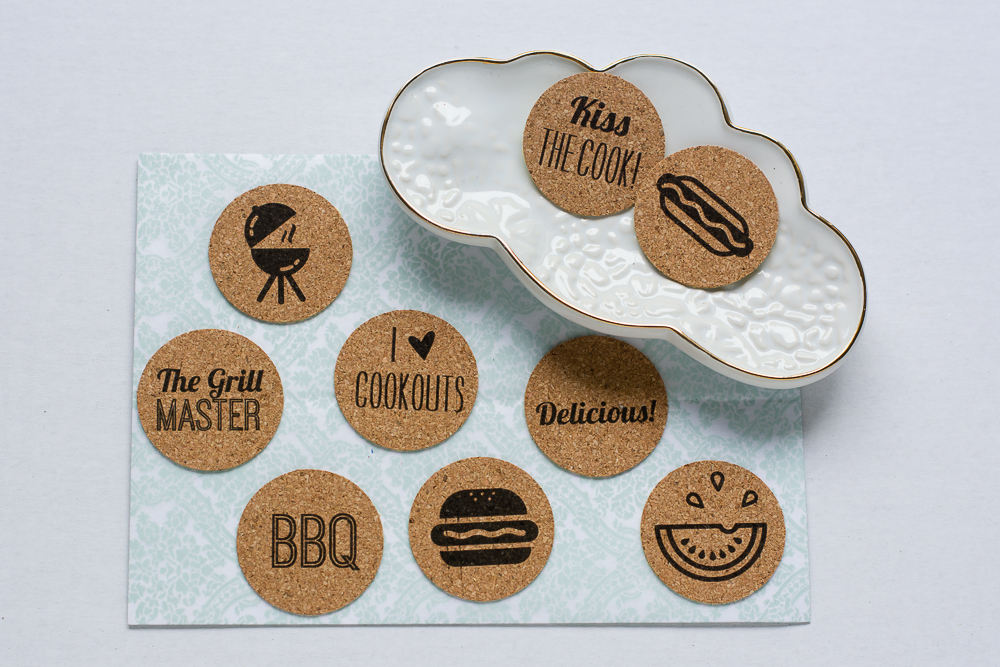 Grill Master | Set of 9 BBQ theme cork stickers from the Shoppe at Turquoise Avenue. Adorable embellishment for summer cookouts!