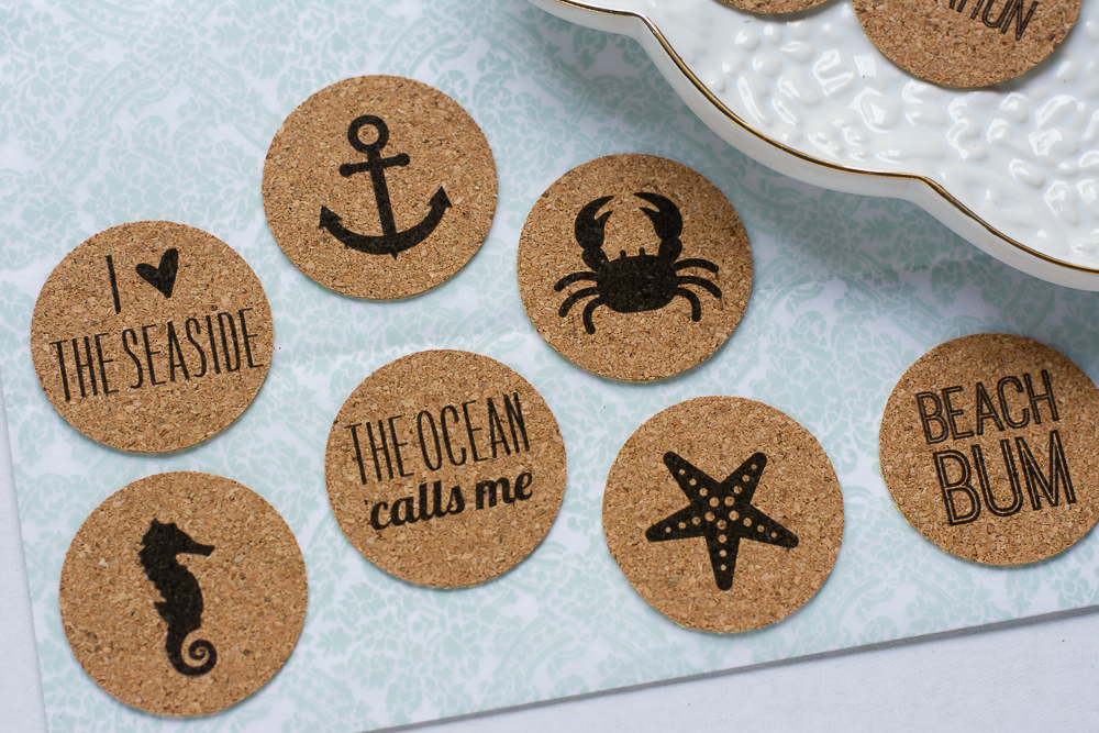 Beach Bum | Set of 9 beach theme cork stickers from the Shoppe at Turquoise Avenue. Adorable embellishment for beach photos, cards, scrapbooks, and paper crafts!