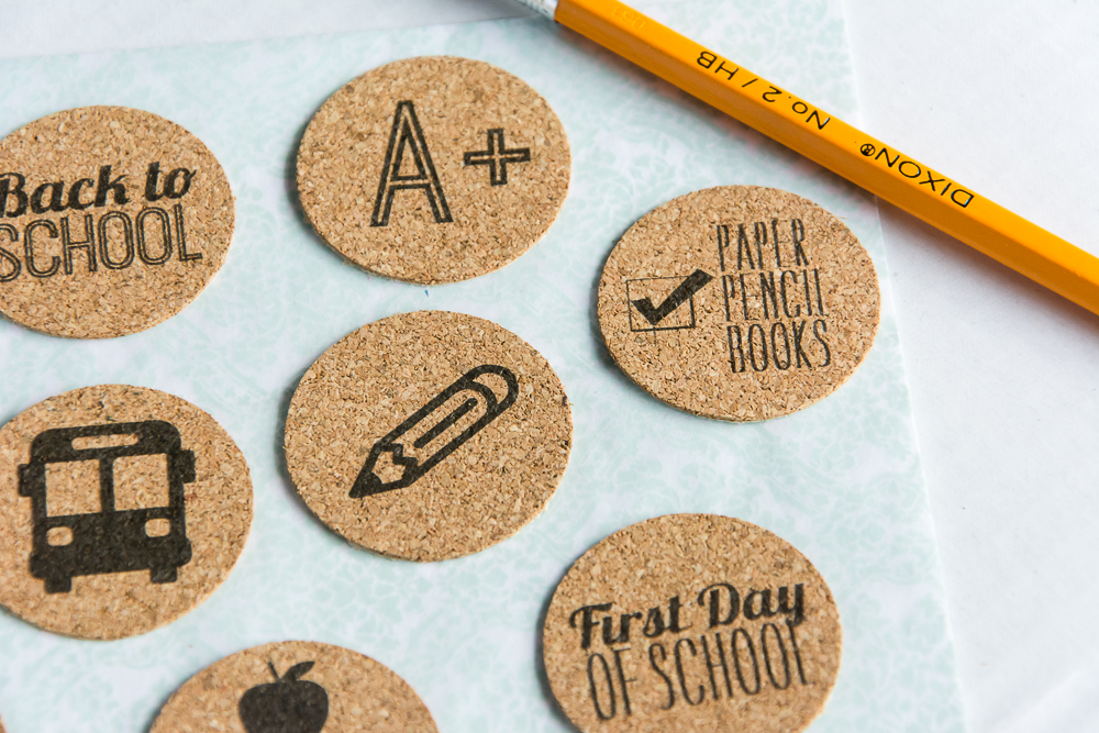 Back to School | Set of 9 school theme cork stickers from the Shoppe at Turquoise Avenue. Adorable embellishment for kids school bashes!