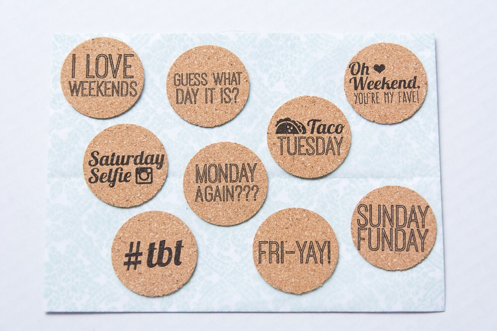 Caption Today | Set of 9 day of the week cork stickers from the Shoppe at Turquoise Avenue. Adorable embellishment for Week In the Life!!
