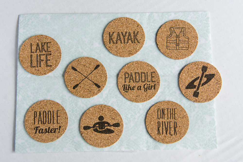 Eat. Sleep. Paddle | Fun, kayak theme cork sticker set for scrapbookers and paper crafters!