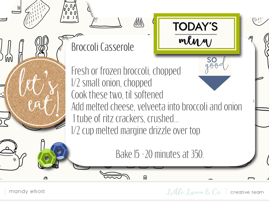 Broccoli Casserole - Delicious, Fall 4x6 Digital Recipe Cards - Great Idea for iPad Kitchen Recipes via Turquoise Avenue