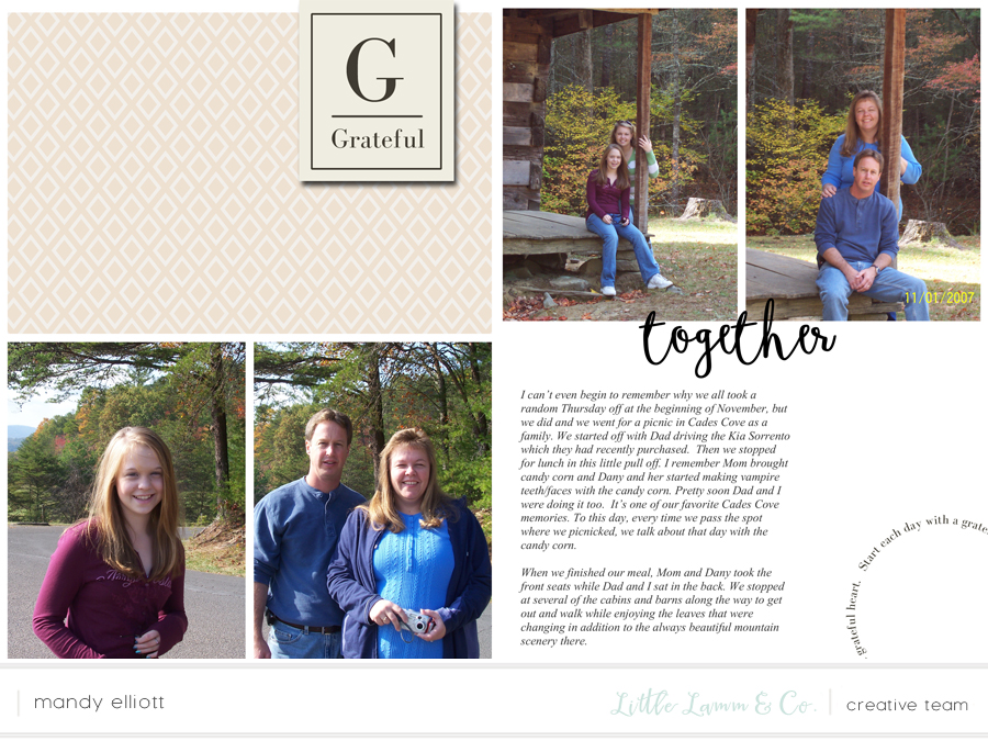 6x8 Digital Project Life Layout feat. Grateful, a fall collection by Little Lamm & Co.. Layout by Turquoise Avenue - a blog for memory keepers.