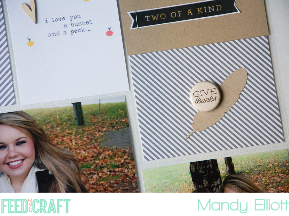 Minimalist 9x12 Project Life Layout by Mandy Elliott of Turquoise Avenue featuring designs from One Little Bird and flair from Feed Your Craft! Coupon code included!