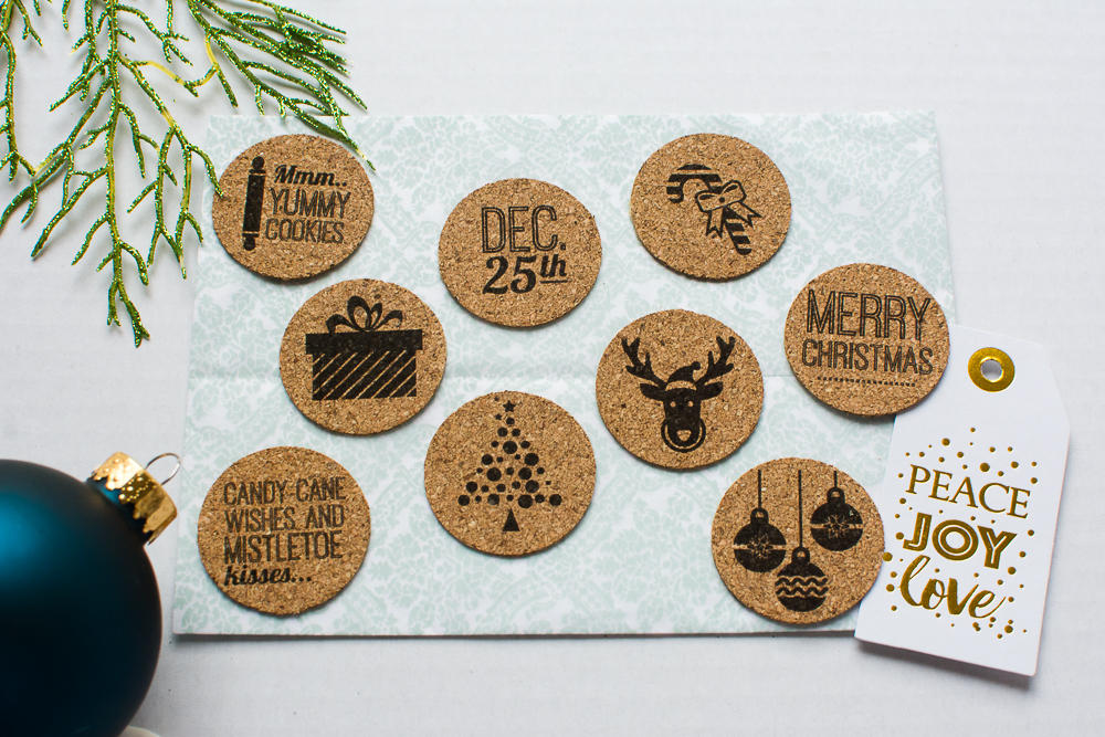 Christmas theme cork embellishments/stickers from Turquoise Avenue - perfect for December Daily, Project Life, scrapbooking, and craft projects.