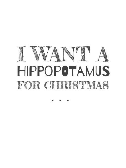 I Want a Hippopotamus for Christmas, December Daily® 6x8 pocket pages - Free Printable 3x4 journal card from Turquoise Avenue