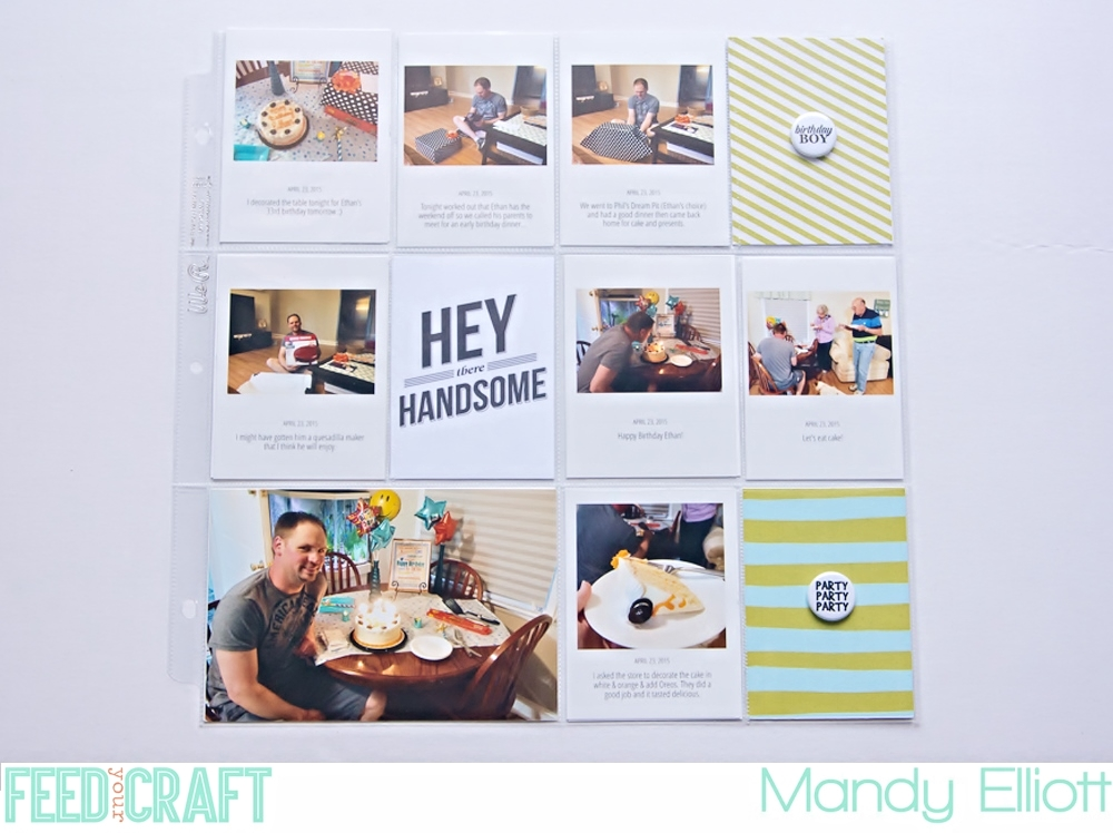 12x12 Birthday Project Life pocket page by Turquoise Avenue featuring Feed Your Craft Mini Flair