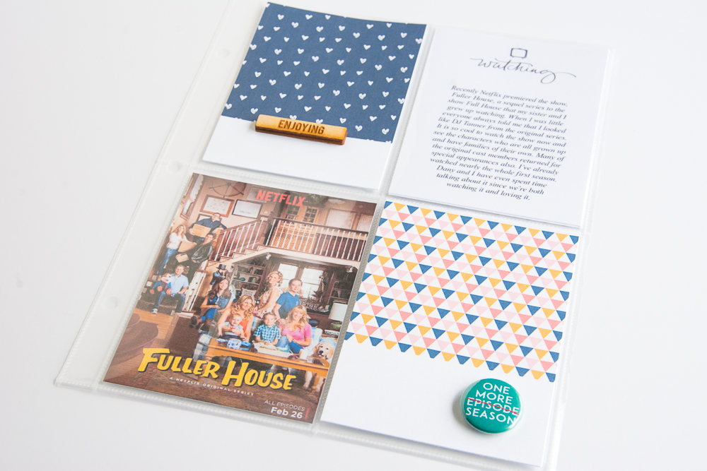 Binge Watch - Fuller House | 6x8 Pocket Page Layout by Turquoise Avenue featuring Feed Your Craft and One Little Bird Designs