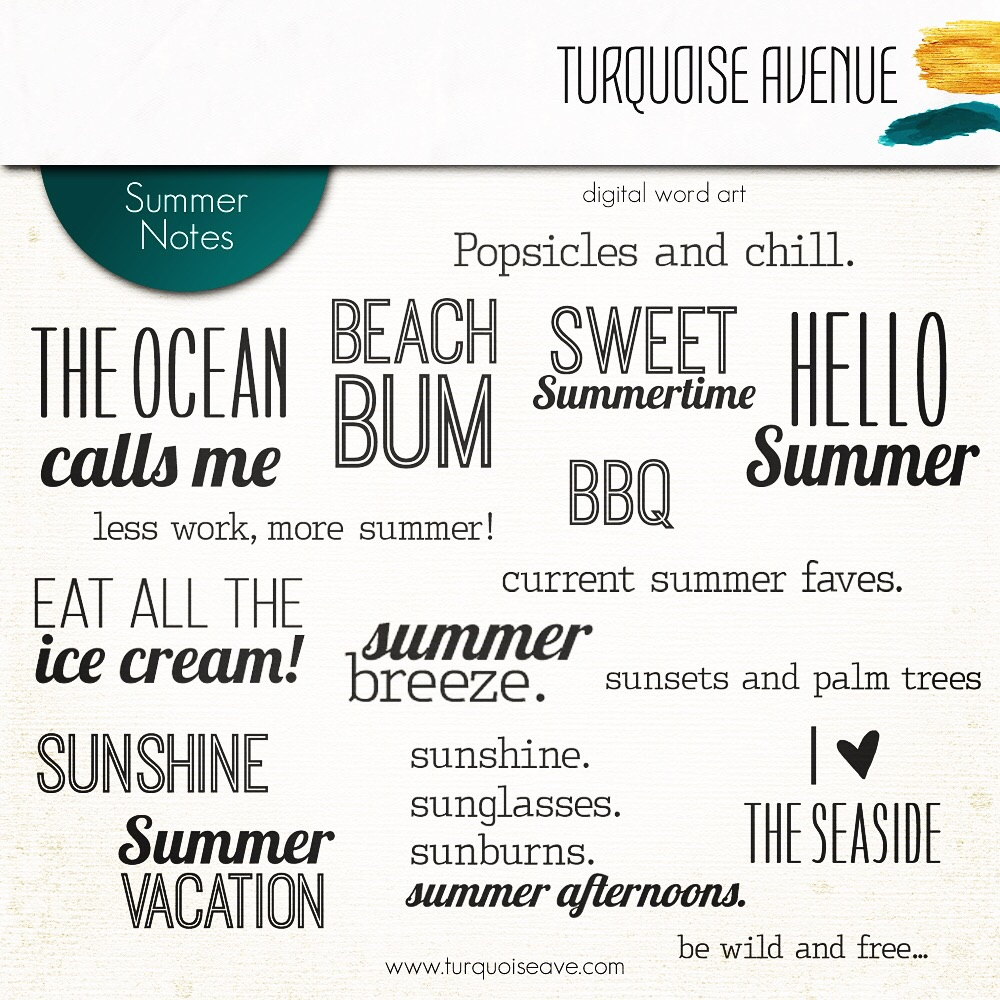 Summer Notes | Digital Stamps