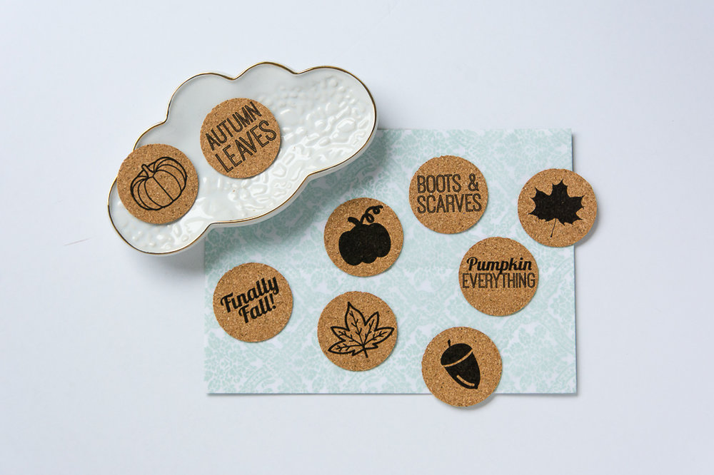 Fall theme cork stickers from Turquoise Avenue! These lay-flat stickers work great for scrapbooking, planners, art journals, Project Life pocket page, mini albums and more!