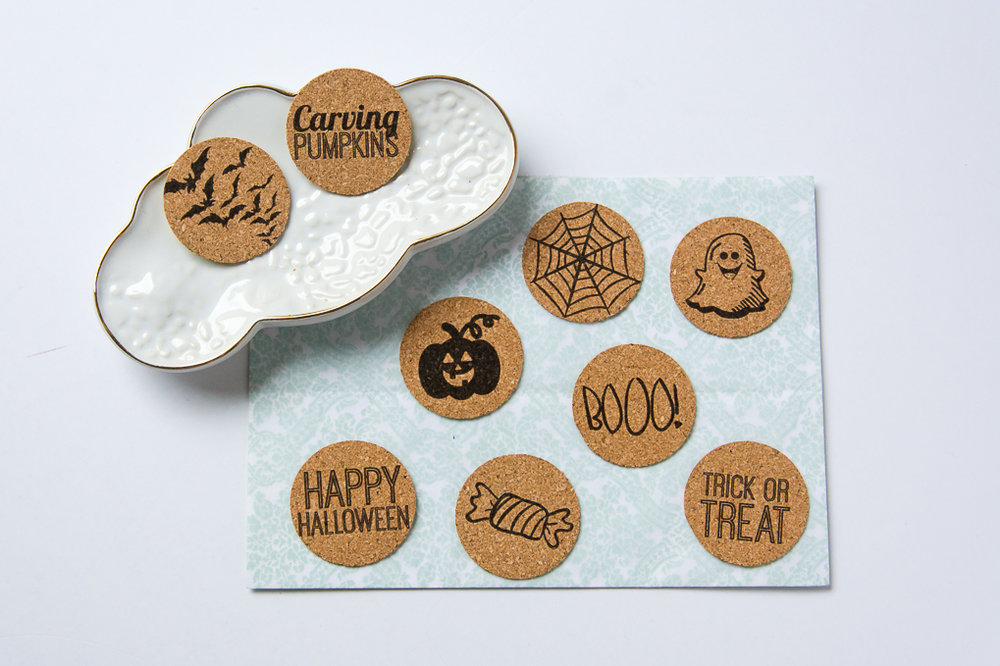 Halloween theme cork stickers from Turquoise Avenue! These lay-flat stickers work great for scrapbooking, planners, art journals, Project Life pocket page, mini albums and more!