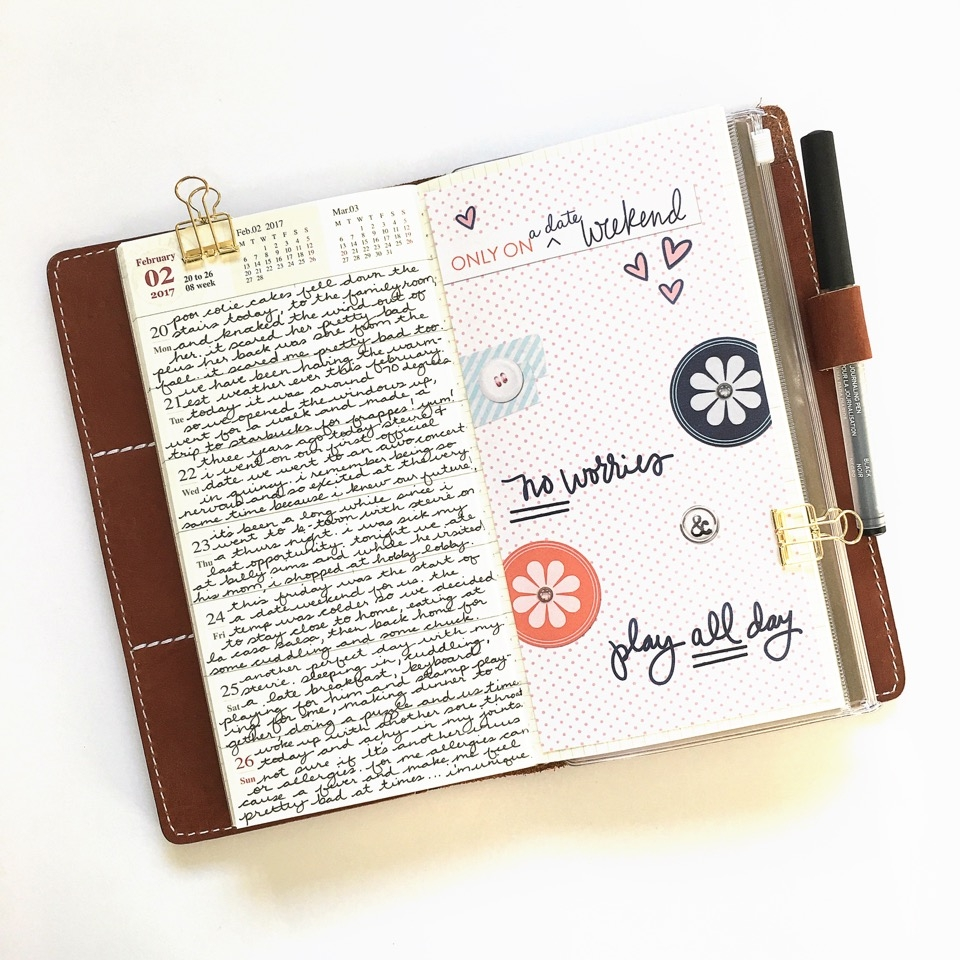 Document Yourself - Inspiration from Nicole, tell your story with in a Traveler's Notebook diary as featured on Turquoise Avenue! For more ideas, free printables and prompts, check out Mandy Elliott's class YOUnique on Big Picture Classes!