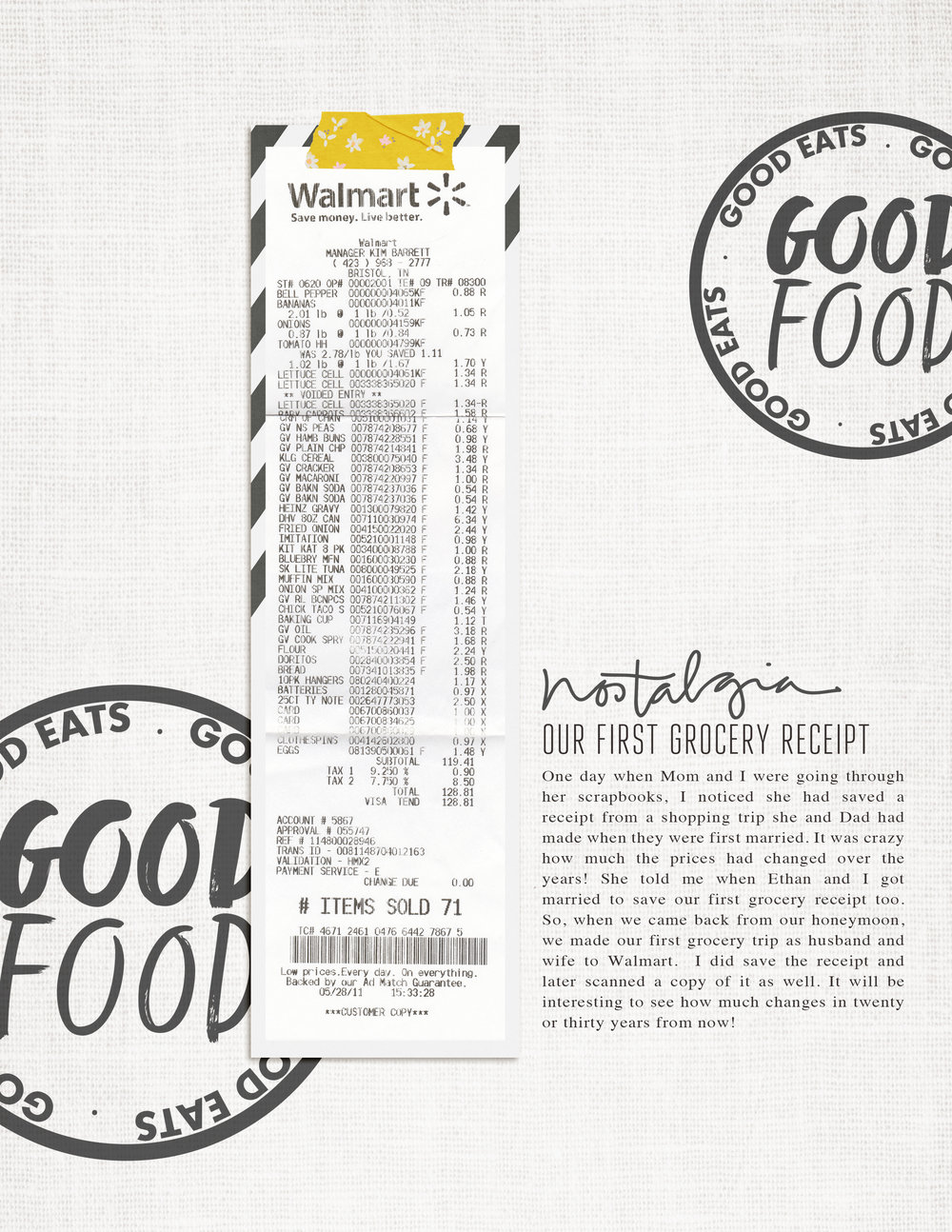 What's the craziest thing you've ever documented?  My mom encouraged me to save our first grocery receipt after my husband and I got married. I loved creating this digital scrapbook page with a scanned copy of the receipt - preserved forever! This fun page uses the  Good Food  digital stamp set from Kellie Stamps.