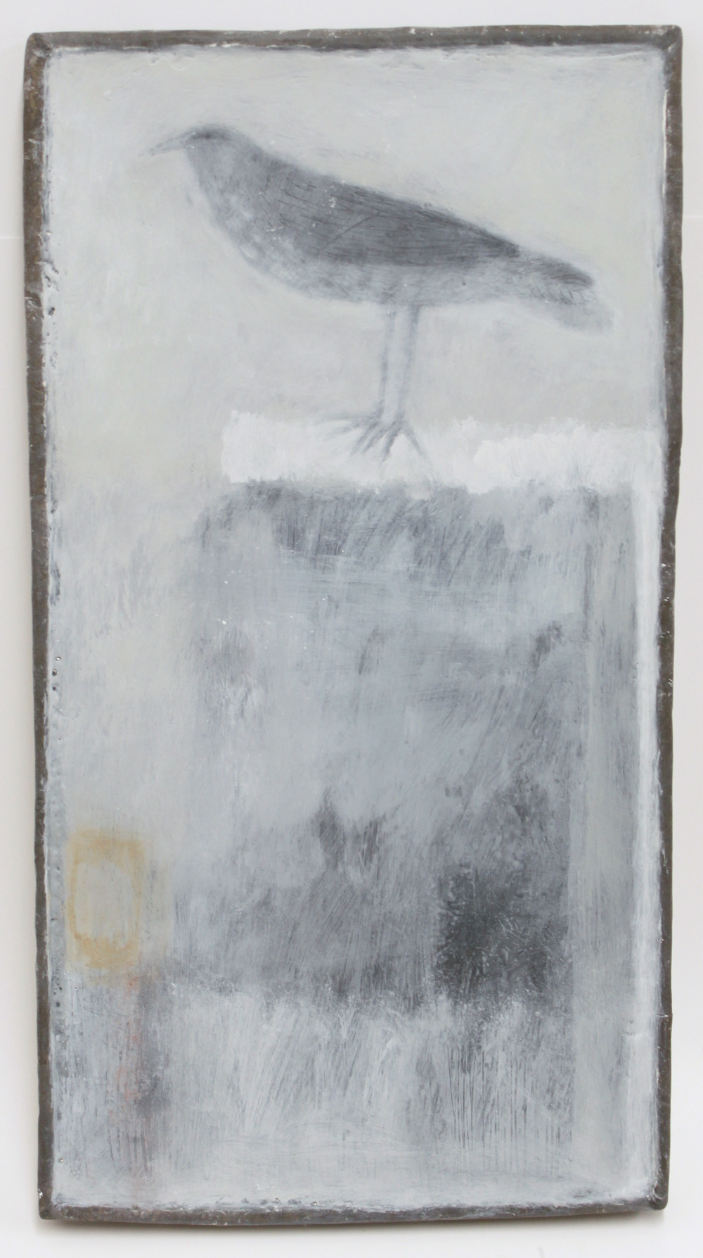 Jo Keyaian Bird on Post natural pigment on wood 24x45cm (lead frame)  £600