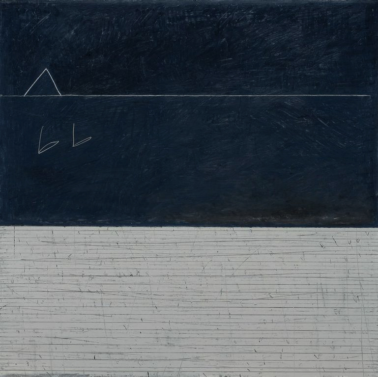 Paul Fry   2 Swans oil & graphite on canvas 100 x 100 cm £3000