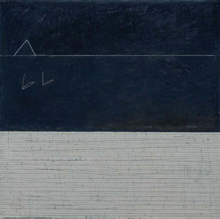 Paul Fry   2 Swans oil & graphite on canvas 100 x 100 cm £3000