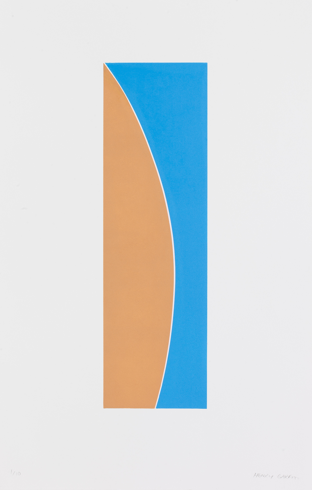 Henry Garfit   Ochre and Mid Blue Curve   Relief print with industrial rubber   73cm x 46cm   Edition of 10   £550 framed
