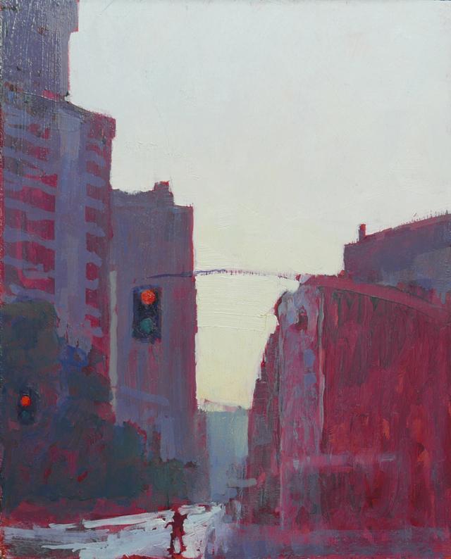 Tom Rickman Crossing NYC 26 x 20 cm oil on gesso £675