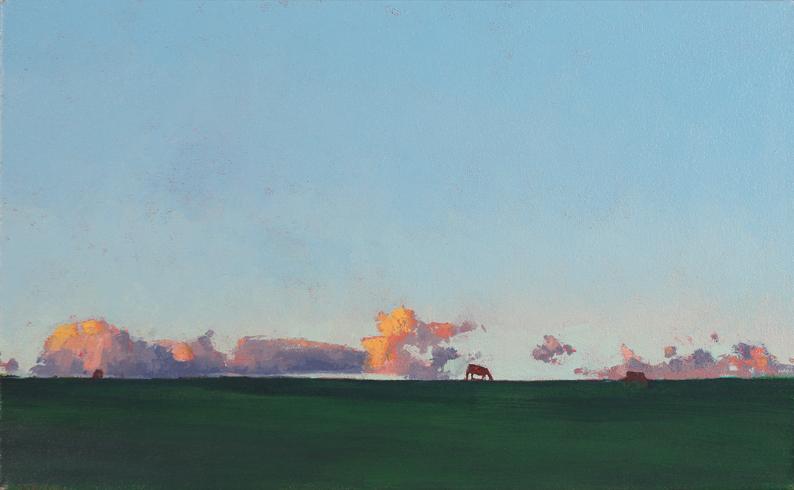 Tom Rickman Grazing,Tresco 33 x 53 cm oil on canvas S O L D