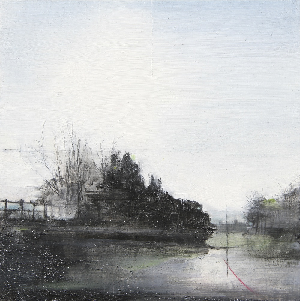 Laurie Steen RWA Landstill 24 - 11 20 x 20 cm graphite & oil on gesso panel £ 440 (framed)