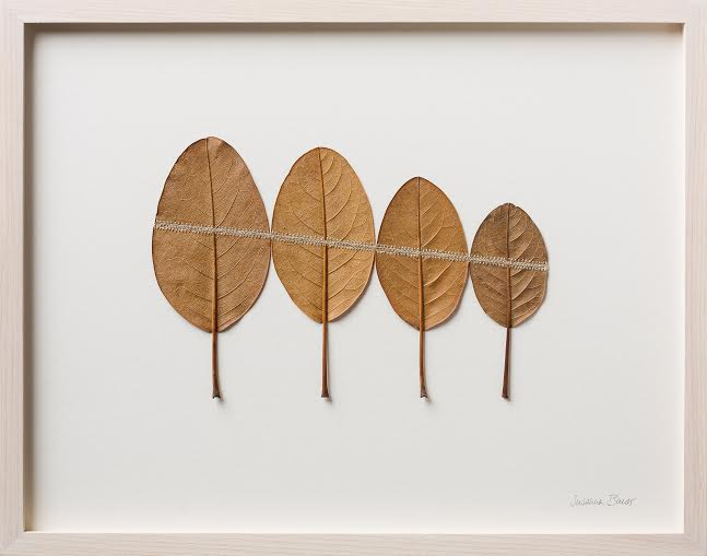 Susanna Bauer Line 43 x 34 cm magnolia leaves & cotton yarn S O L D